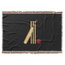 Cricket - Wicket, Bat and Ball on Black Throw Blanket