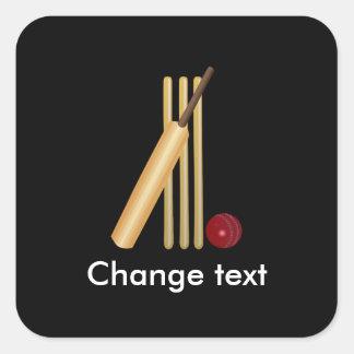 Cricket, wicket, bat and ball square sticker