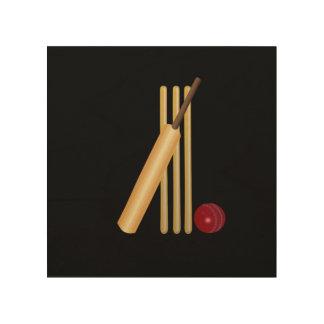 Cricket - Wicket, Bat and Ball Wood Print