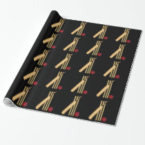 Cricket, wicket, bat and ball wrapping paper