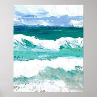 CricketDiane Beach Poster - Ocean Waves in Action
