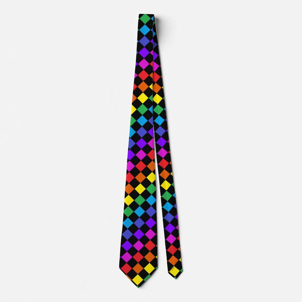 CricketDiane Colorful Rainbow Checkerboard Summer Tie