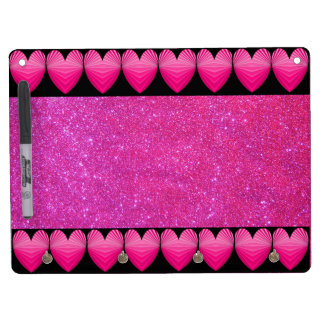 CricketDiane Dry Erase Noteboard Pink Sparkly Girl Dry Erase Board With Keychain Holder