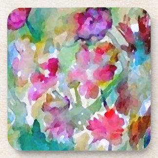 CricketDiane Flower Garden Watercolor Abstract Coaster