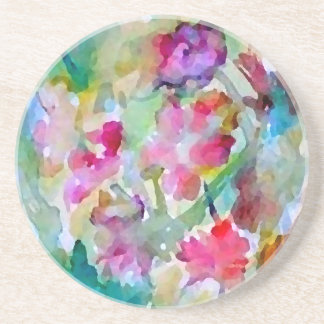 CricketDiane Flower Garden Watercolor Abstract Drink Coaster