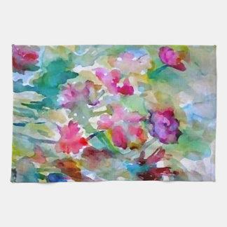 CricketDiane Flower Garden Watercolor Abstract Towel