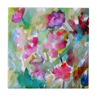 CricketDiane Flower Garden Watercolor Abstract Tile