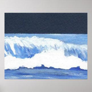 CricketDiane Ocean Poster Roaring Moonlit Wave