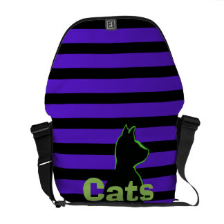 CricketDiane Pop Art Cats Striped Lime Purple Messenger Bag