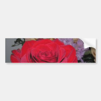CricketDiane Romantic Red Rose and Silk Flowers Bumper Sticker