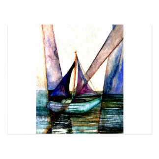 CricketDiane Sailboat Abstract 1 Sailing Postcard