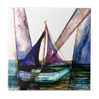 CricketDiane Sailboat Abstract 1 Sailing Small Square Tile
