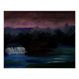 CricketDiane Waterfall Poster Waterfall Lake Night