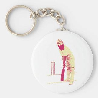 cricketer vintage basic round button keychain