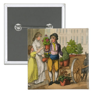 Cries of London: The Garden Pot Seller, 1799 (colo 2 Inch Square Button