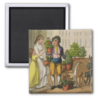 Cries of London: The Garden Pot Seller, 1799 (colo 2 Inch Square Magnet