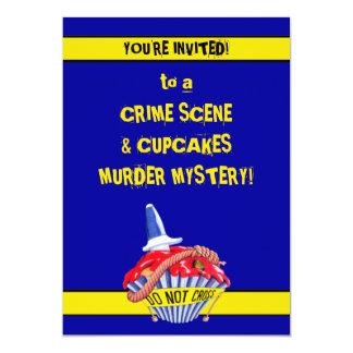 Crime Scene Cupcake blue Murder Mystery Invitation