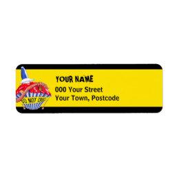 Crime Scene Cupcake yellow Return Address Label