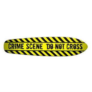 crime scene - do not cross skateboard
