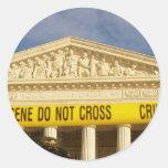 Crime Scene Do Not Cross U.S. Supreme Court Round Stickers