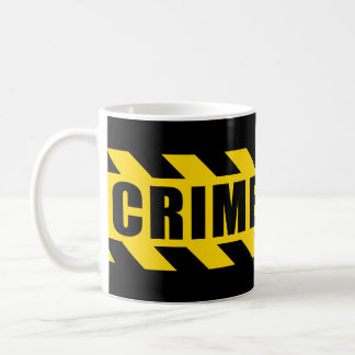 Crime Scene Hazard Tape Black Yellow Stripes Coffee Mug