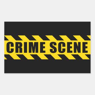 Crime Scene Hazard Tape Black Yellow Stripes Rectangular Sticker