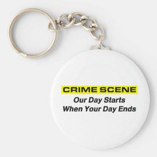 Crime Scene Investigator Basic Round Button Keychain