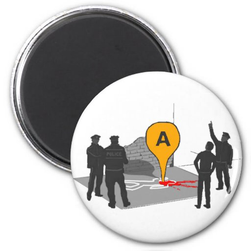 Crime Scene Map with Police and Body Outline 2 Inch Round Magnet