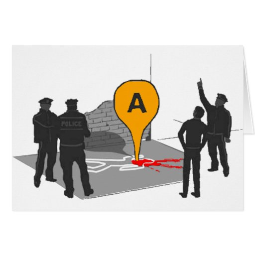 Crime Scene Map with Police and Body Outline Card