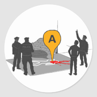 Crime Scene Map with Police and Body Outline Classic Round Sticker
