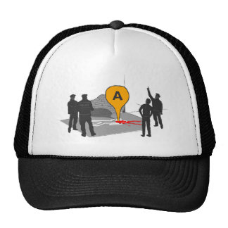 Crime Scene Map with Police and Body Outline Mesh Hats