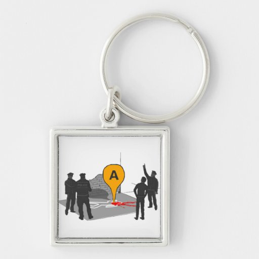 Crime Scene Map with Police and Body Outline Silver-Colored Square Keychain