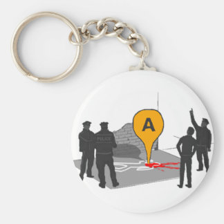 Crime Scene Map with Police and Body Outline Keychain