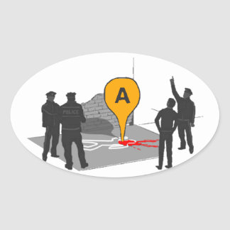 Crime Scene Map with Police and Body Outline Oval Sticker
