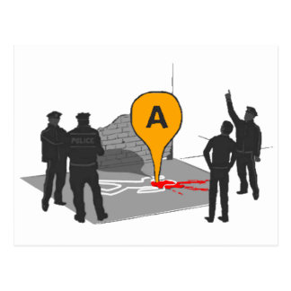 Crime Scene Map with Police and Body Outline Postcard