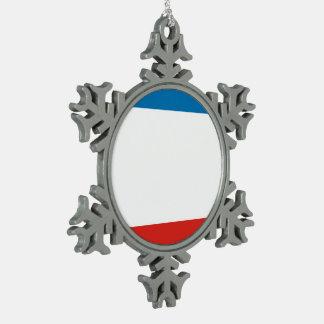 Crimea Flag Snowflake Pewter Christmas Ornament
