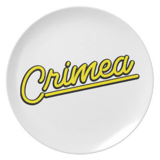 Crimea in yellow party plate