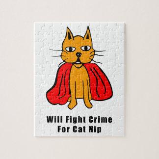 Crimen estupendo de la pelea de gatos para el Catn Puzzle