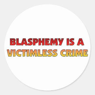 Crimen sin víctimas de la blasfemia pegatina redonda