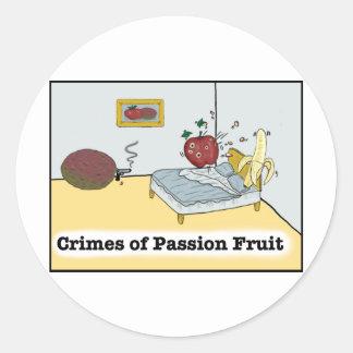 Crímenes de la fruta de la pasión Zazzle Pegatina Redonda