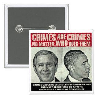 Crimes Are Crimes - No Matter Who Does Them 2 Inch Square Button