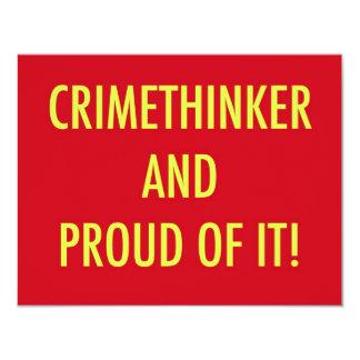 "crimethinker and proud of it 4.25"" x 5.5"" invitation card"