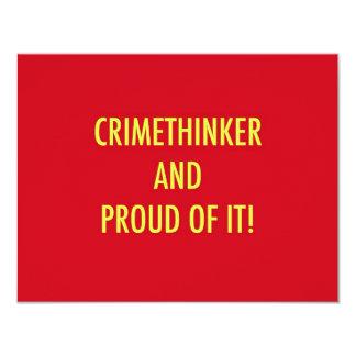 """crimethinker y orgulloso de él invitación 4.25"""" x 5.5"""""""