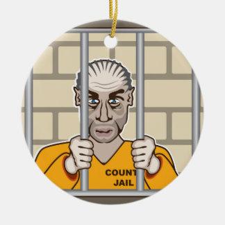 Criminal en cárcel adorno navideño redondo de cerámica