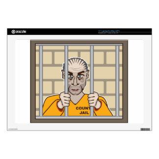 Criminal en cárcel calcomanías para portátiles