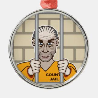 Criminal in Jail Metal Ornament