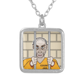 Criminal in Jail Silver Plated Necklace