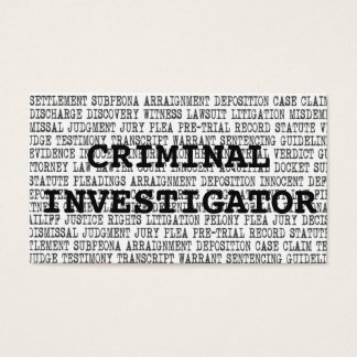 Criminal Investigator Legal Words Business Card