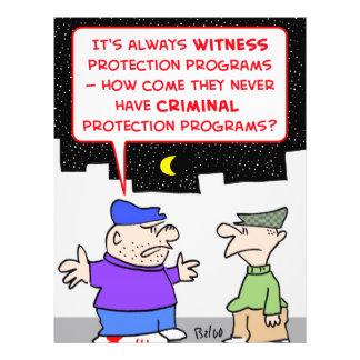 criminal witness protection program custom flyer
