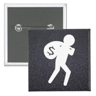 Criminales del ladrón gráficos pin cuadrada 5 cm
